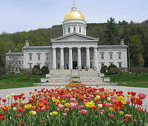 The Vermont State House in spring
