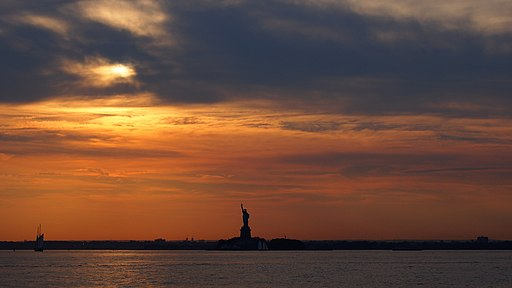 Statue of Liberty and Upper New York Bay from Valentino Pier 10