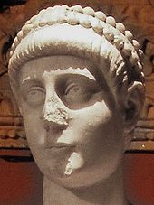 Statue of emperor Valentinian II (cropped enhanced).JPG