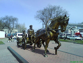Jewish Autonomous Oblast - Statue of settlers on the railway station in Birobidzhan.