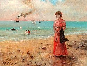 Stevens Alfred Jeune femme a l ombrelle rouge au bord de la mer c1885 Oil On Canvas.jpg