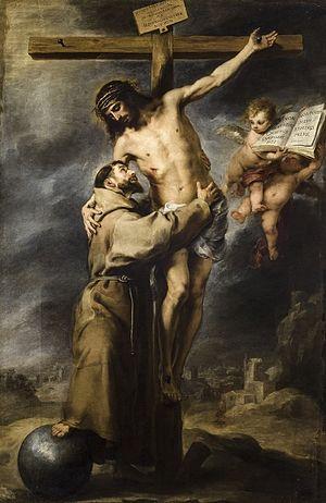 """Saint Francis embracing Christ on the Cr..."