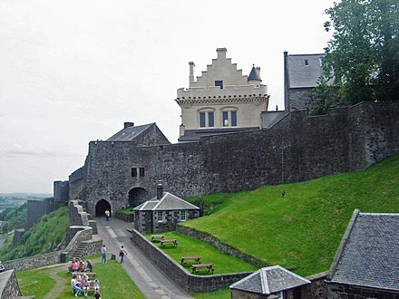 The north gate of the castle, at the lower left, is probably the oldest part of the castle, dating partly from the 1380s Stirling Castle dsc06628.jpg