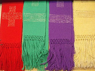 Stole (vestment) - Western stoles woven with a modern design in different liturgical colors.