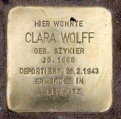 Photo of Clara Wolff brass plaque