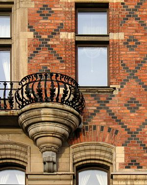 Strandvägen - Detail of the elaborate brick patterns of Bünsow House.