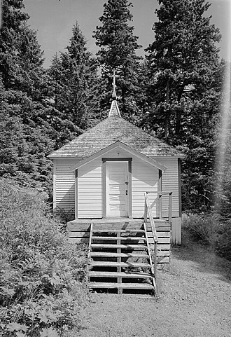 Herman of Alaska - Saints Sergius and Herman of Valaam Chapel, built in 1898 over the site where Herman was buried on Spruce Island in December 1836. Located near Monk's Lagoon, in the immediate vicinity of St. Herman's hermitage.