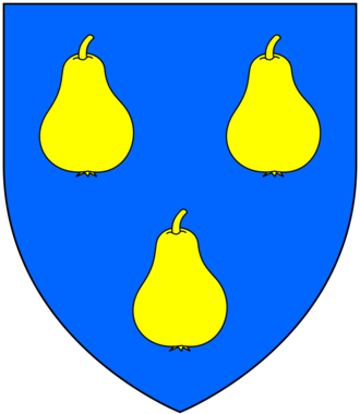 "Thomas Stukley - Arms of Stucley of Affeton: Azure, three pears or. Motto: Bellement et Hardiment (""beautifully and bravely"")"