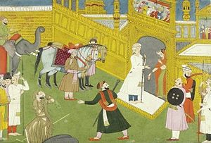 Sudama - Sudama returns home to find in place of it, a golden palace, the gift of Krishna, ca 1775-1790 painting.