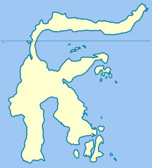 Action of 26 July 1806 - Image: Sulawesi blank map