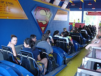 Superman The Ride - Train in the station prior to the theme change in 2009