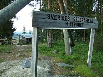 Geographical center of Sweden - Sign denoting the geographical center of Sweden at Flataklocken in Medelpad