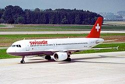 Swissair Airbus A320-214; HB-IJA@ZRH;24.09.1995 (5471558614).jpg