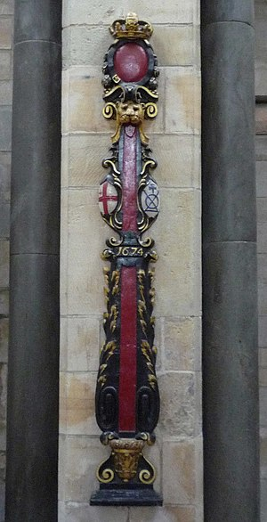 Bridge House Estates - City sword rest, formerly in the church of St Olave Southwark, and now in Southwark Cathedral, showing the Bridge Mark