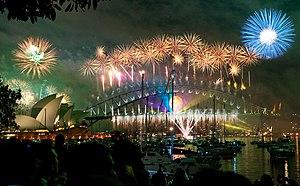 sydney habour bridge & opera house fireworks n...