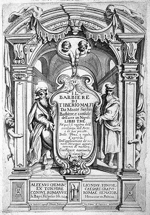"""T. Malfi, """"Il barbiere...libri tre"""", 1626, title page Wellcome L0008228.jpg"""