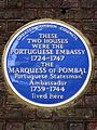 THESE TWO HOUSES WERE THE PORTUGUESE EMBASSY 1724-1747 THE MARQUESS OF POMBAL Portuguese Statesman Ambassador 1739-1744 lived here.jpg