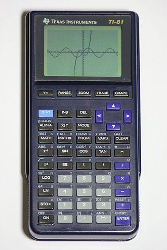 TI-81 - A 1994 TI-81 showing graphs