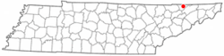 Location of Sneedville, Tennessee