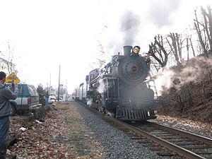 Leesport, Pennsylvania - Reading Blue Mountain & Northern Railroad heritage steam train in Leesport