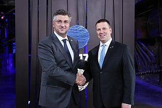 Andrej Plenković - Plenković with Estonian Prime Minister Jüri Ratas