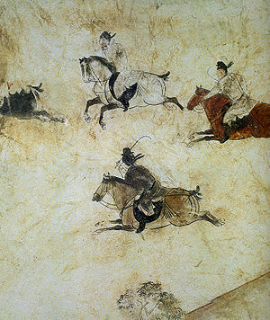 Qianling Mausoleum - Polo players at their game, detail on the west wall of a tomb pathway of Li Xián's tomb