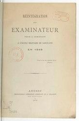 Étienne Auguste Tarnier: Réintégration d'un examinateur pour l'admission à l'École militaire de Saint-Cyr