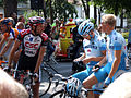 Team Gerolsteiner riders having a chat with CSC rider Jens Voigt during the 2006 Tour de France.jpg
