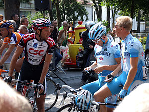Gerolsteiner (cycling team) - Team Gerolsteiner riders with CSC rider Jens Voigt during the 2006 Tour de France