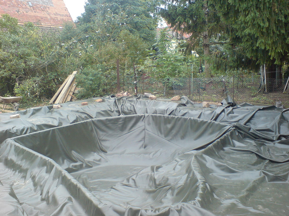 Pond liner wikipedia for Plastic garden fish ponds