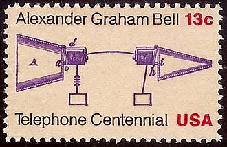 History of the telephone - Bell prototype telephone stampCentennial Issue of 1976