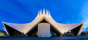 Tempodrom - View of the Tempodrom during the blue hour