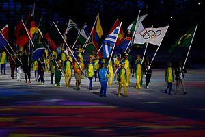2016 Summer Olympics closing ceremony - Greece and Brazil leading out the flag parade