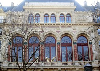 Théâtre de la Gaîté (rue Papin) - Théâtre de la Gaîté on the rue Papin (upper facade)