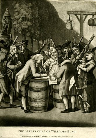"Virginia in the American Revolution - ""The Alternative of Williamsburg"", 2220, showing a satirical view of affairs in the colony of loyalists being intimidated to join the Virginia Association."