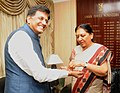 The Chief Minister of Gujarat, Smt. Anandiben Patel tying 'Rakhi' to the Minister of State (Independent Charge) for Power, Coal and New and Renewable Energy, Shri Piyush Goyal, in New Delhi on August 08, 2014.jpg