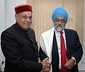 The Chief Minister of Himachal Pradesh, Shri Prem Kumar Dhumal meeting the Deputy Chairman, Planning Commission, Shri Montek Singh Ahluwalia to finalize annual plan 2009-10 of the State, in New Delhi on February 28, 2009.jpg