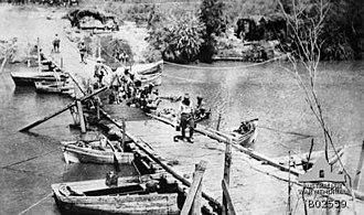 Capture of Jisr ed Damieh - British pontoon bridge at Jisr ed Damieh