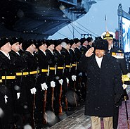 Defence Minister AK Antony receives a guard of honour from Russian Navy guards at Sevmash Shipyard, Russia