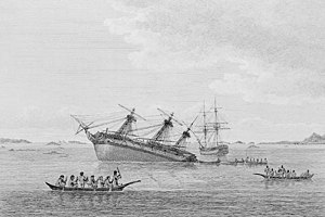 Vancouver Expedition - The Discovery ran aground in early August 1792 on hidden rocks in Queen Charlotte Strait near Fife Sound. Within a day the Chatham also ran aground on rocks about two miles away.