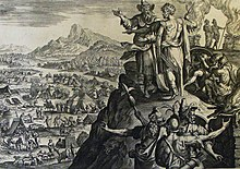 The Phillip Medhurst Picture Torah 580. Balak's sacrifices. Numbers cap 23 v 24. De Vos.jpg