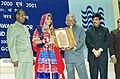 The President Dr. A.P.J Abdul Kalam presenting National Award to Smt. Santi Bali K of Karnataka for her excellent craftsmanship in Banjara Enbroidery in New Delhi on December 12, 2003.jpg