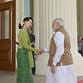 The Prime Minister, Shri Narendra Modi being received by the State Counsellor of Myanmar, Ms. Aung San Suu Kyi, on his arrival, at Presidential Palace, in Nay Pyi Taw, Myanmar on September 06, 2017.jpg