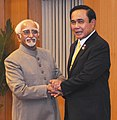 The Prime Minister of the Kingdom of Thailand, General Prayut Chan-o-cha calling on the Vice President, Shri M. Hamid Ansari, in New Delhi on June 17, 2016.jpg