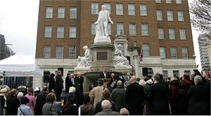 Joseph Sturge memorial - Stephen Hartland, Chairman of the Public Art Committee of The Birmingham Civic Society, delivers a speech at the re-dedication of the Sturge memorial on 24 March 2007