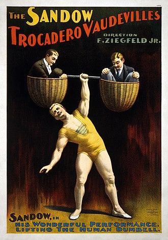 Florenz Ziegfeld Jr. - Poster for The Sandow Trocadero Vaudevilles, produced by Ziegfeld (1894)