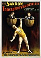 The Sandow Trocadero Vaudevilles, Sandow lifting the human dumbell, 1894.jpg
