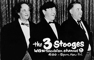 The Three Stooges - Larry, Moe and Curly Joe in a 1962 TV ad promoting their earlier short subjects, though DeRita never appeared in any