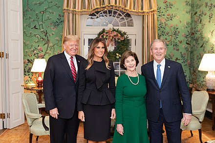 George W. Bush and Laura Bush with President Donald Trump and First Lady Melania Trump in 2018 The Trumps and the Bushes.jpg