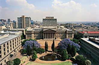 University of the Witwatersrand - East Campus as seen from the north of the campus. Solomon Mahlangu House and the high-rise buildings of Braamfontein are visible in the background.